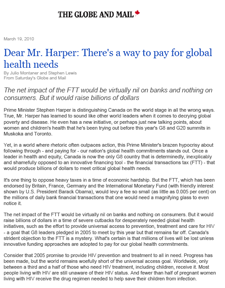 The Globe and Mail - Dear Mr. Harper: There's a way to pay for global health needs