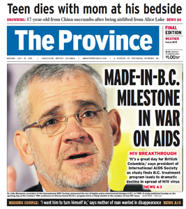 The Province - B.C. research spurs UN to focus on treatment of HIV