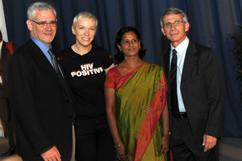 Left to right: Dr. Julio Montaner, Annie Lennox, Naina Rani, Dr. Anthony Fauci